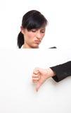 femme investigatrice curieuse de panneau-réclame Photographie stock libre de droits