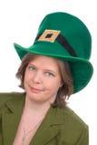 Femme irlandais avec le chapeau vert Photos stock