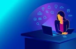Femme isométrique travaillant avec l'ordinateur portable à son bureau de travail, regardant le moniteur et le smartphone illustration libre de droits