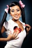 Femme japonais sexy avec la forme de coeur Photo libre de droits