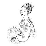 Femme japonaise tirée par la main Images libres de droits