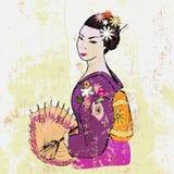 Femme japonaise tirée par la main avec le parapluie Image stock