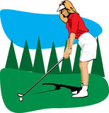 Femme jouant au golf Photo stock