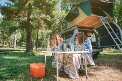 Femme jouant l'harmonica avec l'ami dans le terrain de camping Photos libres de droits