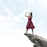 Femme jouant le fifre Image libre de droits