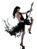 Femme jouant le joueur de guitare électrique Photographie stock libre de droits