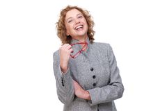 Femme joyeuse d'affaires Photographie stock libre de droits
