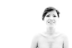 Femme joyeuse et étonnée Disposition avec le modèle émotif et sensuel Images stock