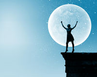 Femme la nuit Image libre de droits