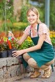 Femme la rempotant faisant du jardinage photographie stock