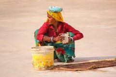 Femme locale travaillant dans la deuxième cour d'Amber Fort près de J Images libres de droits