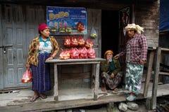 Femme locale vendant des pommes en Chin State, Myanmar Photos libres de droits
