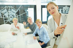 Femme lors de la réunion d'affaires Images libres de droits