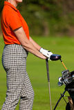 Femme mûr avec le sac de golf jouant au golf Images stock