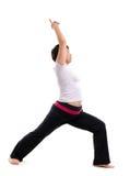Femme mûre asiatique faisant le yoga Images libres de droits