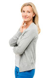 Femme mûre avec vrai heureux de corps d'isolement sur le fond blanc Photographie stock