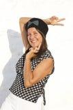 Chemisier mûr drôle de blanc de noir de femme Photographie stock libre de droits