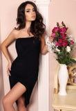 Femme magnifique avec les cheveux foncés dans des vêtements élégants photographie stock libre de droits
