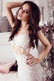 Femme magnifique avec les cheveux foncés dans la robe élégante de dentelle image libre de droits