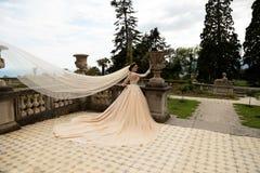 Femme magnifique avec les cheveux foncés dans la robe de mariage luxueuse photos libres de droits