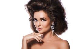 Femme magnifique avec une beaux coiffure et maquillage images libres de droits