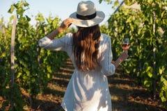Femme magnifique de brune ayant l'amusement de vin photographie stock