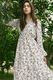 Femme magnifique de brune dans la robe classique de mode dans le jardin de pomme images stock