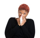 Femme malade, grippe image stock