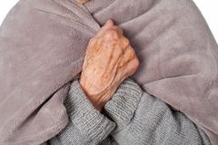 Femme malade pluse âgé avec la couverture Images stock