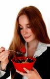 Femme mangeant le déjeuner image libre de droits