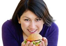 Femme mangeant le sandwich photo libre de droits