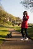 Femme marchant avec le chat en beau parc Concept d'amitié Images libres de droits
