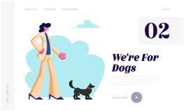 Femme marchant avec le chien en parc Temps de dépense avec l'extérieur d'animal familier l'heure d'été D?tendez, les loisirs, com illustration stock