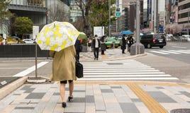 Femme marchant avec le parapluie Photographie stock