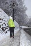 Femme marchant en parc de ville d'hiver Photos stock