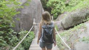 Femme marchant le long de la voie dans la jungle banque de vidéos