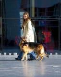 Femme marchant son berger allemand. Photos stock