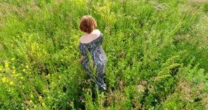 Femme marchant sur le pré d'été, vue supérieure banque de vidéos