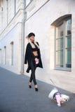 Femme marchant un crabot Photographie stock