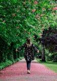 Femme marchant vers le bas nu-pieds ? l'all?e avec des arbres de fleur photos libres de droits