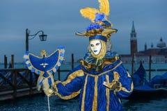 Femme masquée bleu-foncé Photographie stock