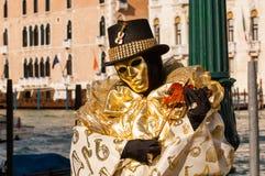 Femme masquée par musicien Photographie stock libre de droits