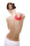 Femme massant le dos de douleur Photo libre de droits