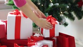Femme mettant l'arbre de Noël de dessous actuel banque de vidéos