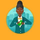 Femme mettant l'argent dans l'illustration de vecteur de poche Photos stock