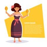 Femme mexicaine dans la robe traditionnelle Photo libre de droits