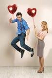 Femme mignonne avec l'ami de sa valentine Images libres de droits