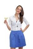 Femme mignonne avec une glace de champagne Images libres de droits