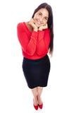 Femme mignonne d'affaires en rouge Photo stock