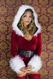 Femme mignonne de Santa Image libre de droits